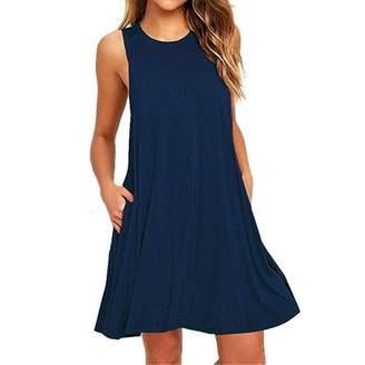 TimNas Women Loose Sleeveless Summer Dress Casual Swing Jumper Skirt With Pocket