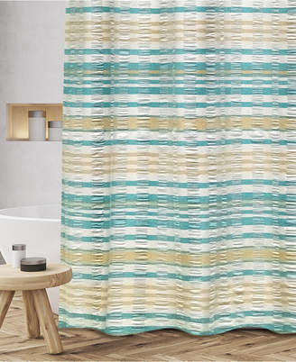"Popular Bath Scarlet Cotton Textured Stripe 72"" x 72"" Shower Curtain Bedding"