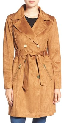 Women's Guess Faux Suede Double Breasted Trench Coat $228 thestylecure.com
