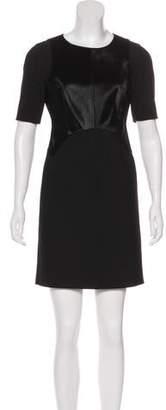 Diane von Furstenberg Fur-Accented Mini Dress