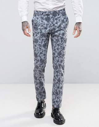 Noose & Monkey Super Skinny Wedding Suit Trousers In Floral