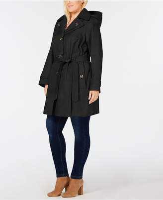 6023e00d192 London Fog Plus Size Hooded Trench Coat