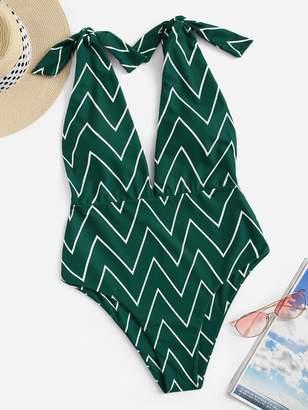 Shein Random Tie Shoulder Chevron One Piece Swimsuit