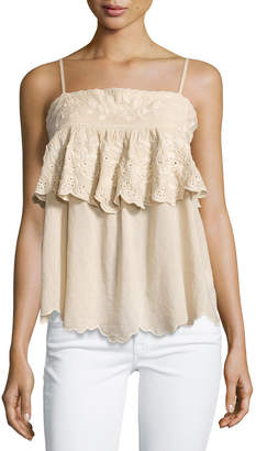 Love Sam Embroidered Ruffle Tank, Natural/Cream $139 thestylecure.com