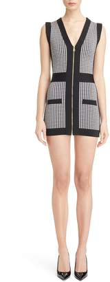 Balmain Micro Vichy Check Knit Minidress