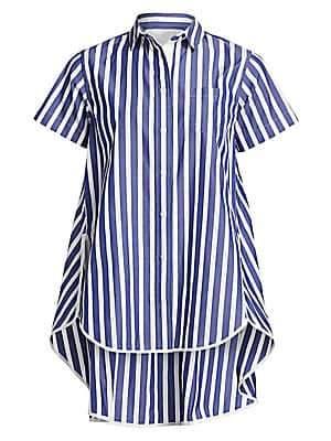 Sacai Women's Striped High-Low Shirt
