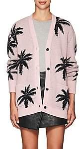 Amiri Women's Palm-Leaf-Pattern Cashmere Cardigan-Pink