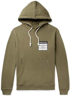 Maison Margiela Appliqued Loopback Cotton-Jersey Hoodie - Men - Army green
