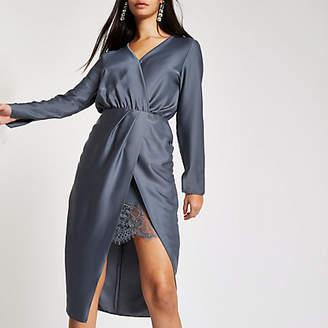 River Island Womens Blue wrap front waisted midi dress