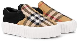 Burberry Vintage Check Detail Cotton Slip-on Sneakers