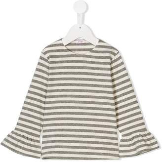 Il Gufo flared cuff striped top