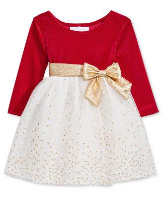 Bonnie Baby Baby Girls' Velvet & Sparkle Tulle Dress $60 thestylecure.com