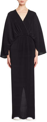 The Row V-Neck Elbow-Sleeve Crepe Gown