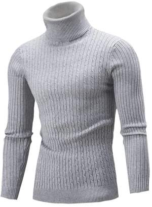 Fulok Mens Cable Knit Slim Turtle Neck Warm Winter Pullover Sweater S