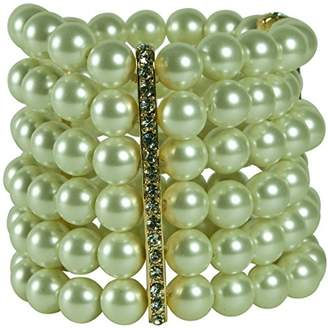 Kenneth Jay Lane 6 ROW GLASS PEARL STRETCH BRACELET WITH 3 CRYSTAL BAR STATIONS