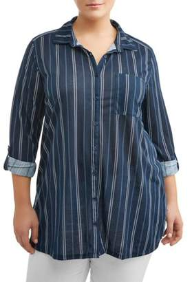 NEW YORK LAUNDRY Women's Plus Size Roll Cuff Tunic Shirt