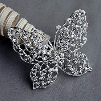Crystal Pearl Your Perfect Gifts Butterfly Rhinestone Brooch Embellishment Wedding Brooch Bouquet Cake Invitation Decoration Hair Comb Clip BR312