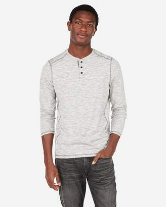 Express Marled Moisture-Wicking Performance Henley Tee