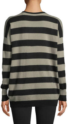 Vince Cashmere Wide-Stripe Long Sweater
