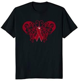 Multiple Myeloma Awareness T Shirt Butterfly Ribbon