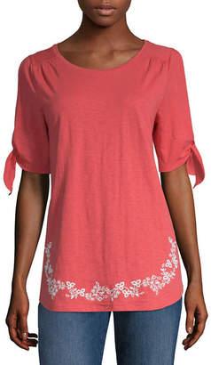 ST. JOHN'S BAY Slit Sleeve Embroidery Tee - Tall