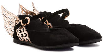 Sophia Webster Evangeline Suede Butterfly-Wing Flat, Black, Toddler/Youth Sizes 5T-3Y