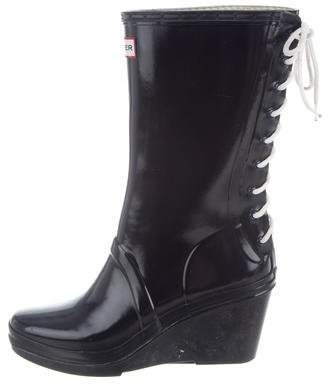 Hunter Lace-Up Wedge Rain Boots