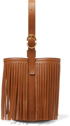 Trademark - Fringed Leather Bucket Bag - Tan