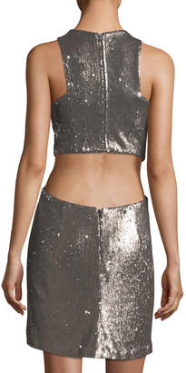 Halston Sequined V-Neck Cutout Cocktail Dress