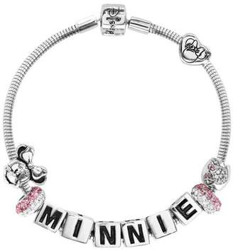 Disney Minnie Mouse Pink Crystal Made Up Charm Bracelet