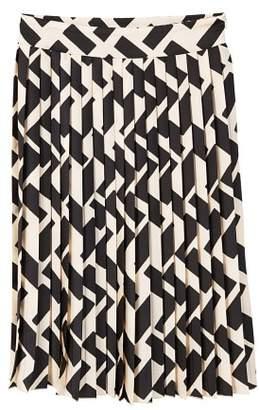 MANGO Geometric print pleated skirt