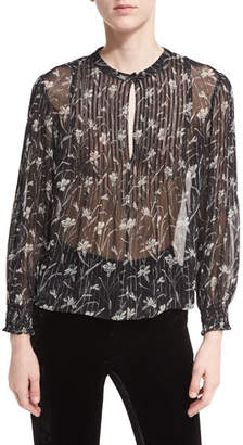 Veronica Beard Walker Floral-Print Sheer Long-Sleeve Peasant Top