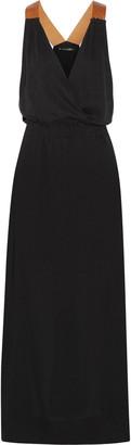 Vix Andrea faux leather-trimmed linen-blend maxi dress $288 thestylecure.com