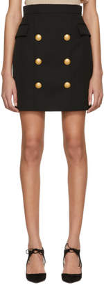 Balmain Black Wool Six-Button Miniskirt