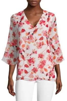 Calvin Klein Floral Bell-Sleeve Blouse