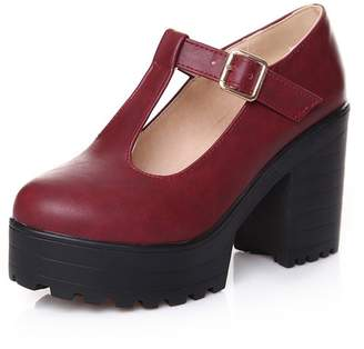 Susanny PU Round Toe Platform Shoes Women's Chunky High Heel Waterproof T-Strap Mary Jane Dress Pumps 8.5 B (M) US