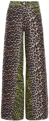 Ganni Mixed Animal Print Jeans
