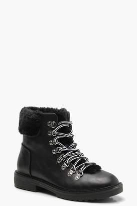 boohoo Faux Fur Lined Hiker Boots