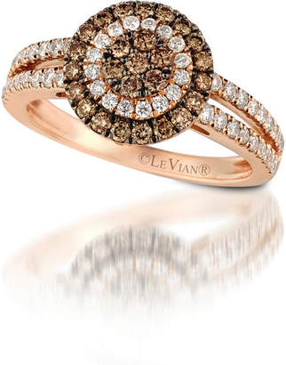 LeVian CORP Grand Sample Sale by Le Vian 7/8 CT. T.W. Vanilla Diamonds & Chocolate Diamonds 14K Strawberry Gold Chocolatier Ring