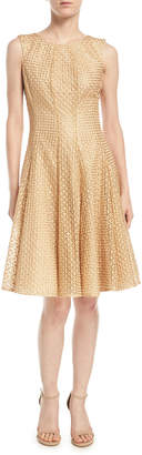 Zac Posen Sleeveless Star-Embroidered Fit-and-Flare Cocktail Dress