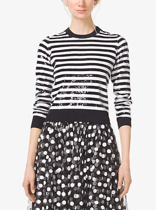 Michael Kors Striped Sequined Wool Sweater