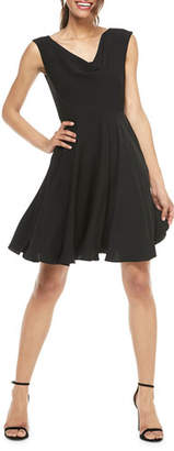 Gal Meets Glam Cowl-Neck Sleeveless Fit-&-Flare Dress