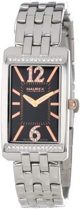 Haurex Italy Women's 2S391DNH Primula Stainless Steel Rectangular Sunray Dial Swarovski Watch