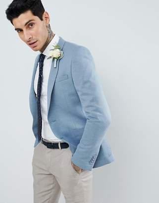 Asos Design DESIGN Wedding Super Skinny Blazer In Blue Wool Mix