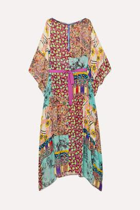 Etro Patchwork Printed Silk-georgette Kaftan - Teal