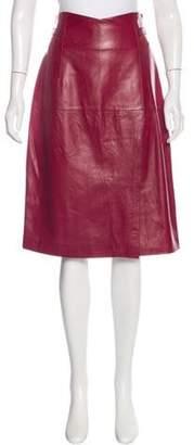 Oscar de la Renta Leather Knee-Length Skirt Leather Knee-Length Skirt