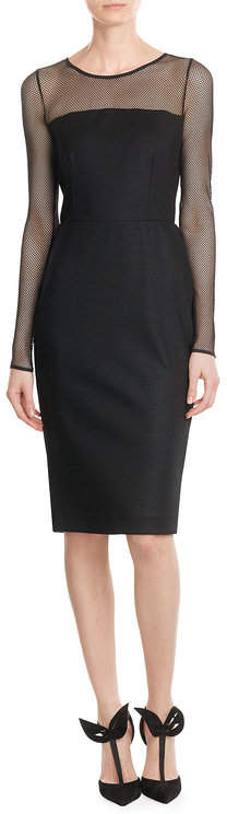 Max Mara Max Mara Wool Dress with Mesh Sleeves