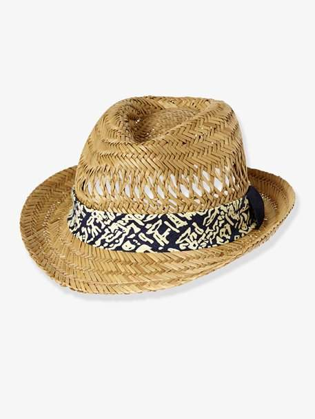Children's Straw Panama Hat, with Openwork – beige light solid with design