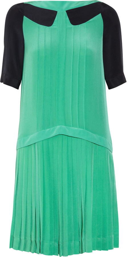 Victoria Beckham Victoria, Pleated silk-crepe mini dress