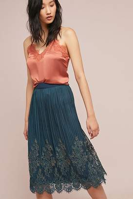 Demi Metallic-Lace Midi Skirt